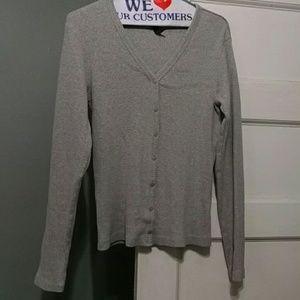 Gap Light Grey Rib Cotton Snap Button Cardigan